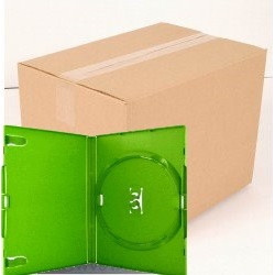 Pack 50 Amaray 14mm Caixa DVD para 1 disco with clips, Verde Brillante