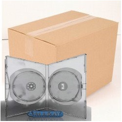 Pack 50 Amaray 14mm Caixa DVD para 2 disco with clips, Transparente