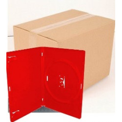 Pack 50 Amaray DVD Case for 1 disc, 14mm, with clips, Red
