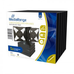 Pack 5 MediaRange CD Jewelcase para 6 disco, 22mm, bandeja preta