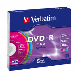 Verbatim DVD+R AZO 4.7GB 16X COLOUR SURFACE Slimcase Pack 5