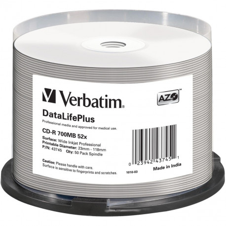 Verbatim CD-R AZO 700MB 52X DL+ WHITE WIDE PRINTABLE SURFACE NON-ID Cake 50