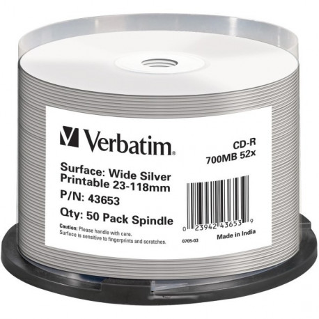 photo about Verbatim Cd R Printable identify Verbatim CD-R AZO 700MB 52X Broad SILVER INKJET PRINTABLE NON Identity Cake 50 - DVD.pt
