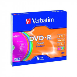 Verbatim DVD-R AZO 4.7GB 16X COLOUR SURFACE Slimcase Pack 5