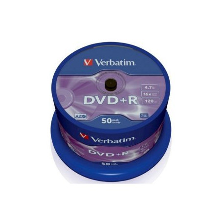 Verbatim DVD+R AZO 4.7GB 16X MATT SILVER SURFACE Cake 50