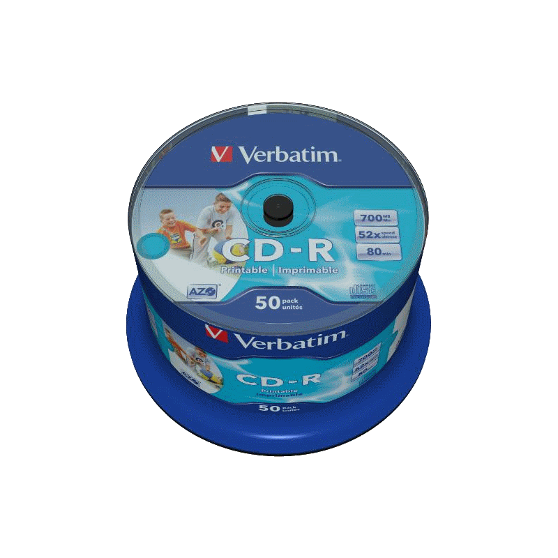 picture regarding Printable Cdr titled Verbatim CD-R AZO 700MB 52X Extensive PRINTABLE Appear Identity