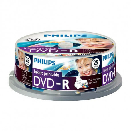 Philips DVD-R 4,7GB 16x Printable mate Cakebox (25 unidades)