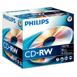 Philips CD-RW 80Min 700MB 4-12x Jewel Case (10 unidades)