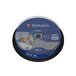 Verbatim BD-R SINGLE LAYER 25GB 6X SPINDLE WIDE PRINTABLE Cake 10