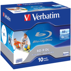 BD-R verbatim 50GB 6x Jewelcase Wide Printable No ID Hard Coat- 10 Uds
