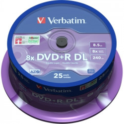Verbatim DVD+R DOUBLE LAYER 8.5GB 8X MATT SILVER SURFACE Cake 25
